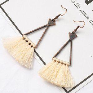 3/$20 New Copper & Cream Tassel Dangle Earrings